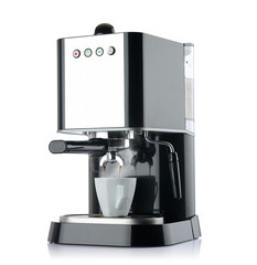 Coffee machine with a white cup, isolated path included
