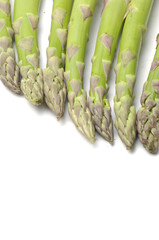 Border of fresh  asparagus