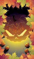 Halloween night background with Jack O  Lantern