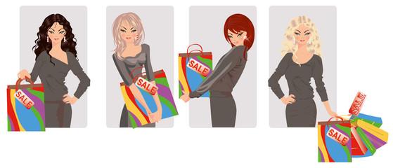 Set shopping girls, vector illustration