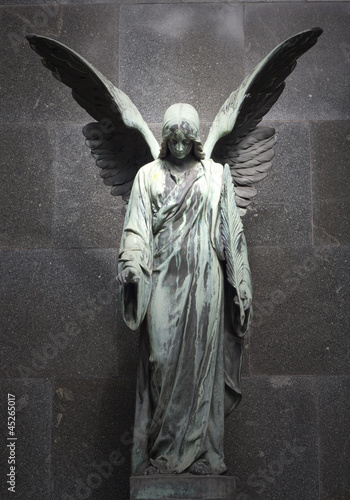 Monument of old angel on cemetery in Warsaw - 45265017