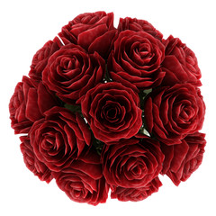 Vase of deep burgundy red roses
