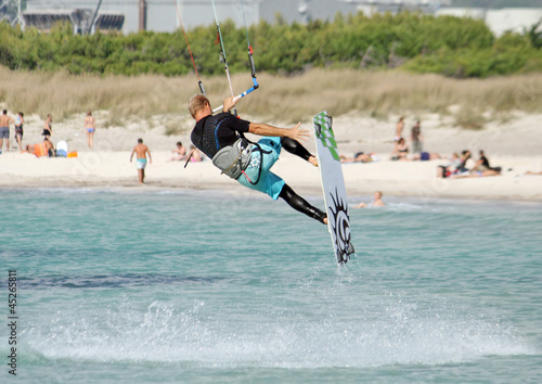 Jumping with kite surf