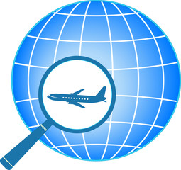 sign with planet and plane in magnifier