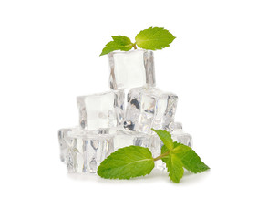 Ice and mint isolated on white background
