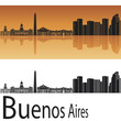 Buenos Aires skyline in orange background