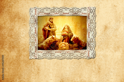 old Christmas card, holy family
