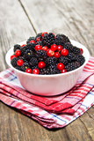 blackberries and cranberries in a bowl