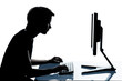 one young teenager boy or girl silhouette computer computing typ