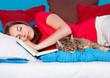 bedtime 12/girl and cat sleeping