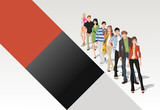 Template with fashion cartoon young people standing in a line