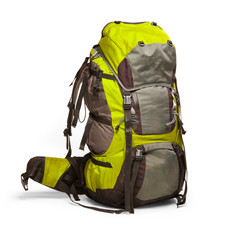 Slightly used tourist backpack isolated on white. Isolation path