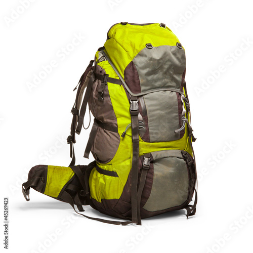 Slightly used tourist backpack isolated on white. Isolation path - 45269423