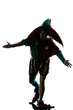 man in jester costume silhouette saluting