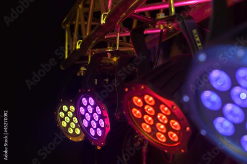 Leinwanddruck Bild LED spotlight on truss tri-led perspective