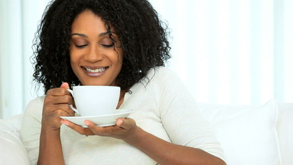 Attractive Female Relaxing Enjoying Coffee
