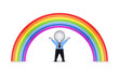 Rainbow and happy 3d small person.