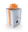 Iron safe decorated with an orange ribbon.