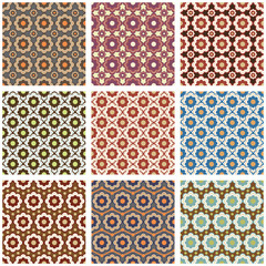Seamless retro patterns set