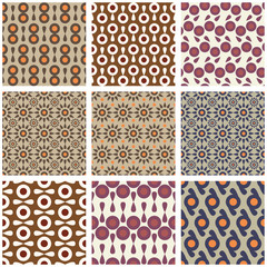 Set of seamless retro patterns