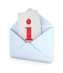 Envelope with a red Info symbol.