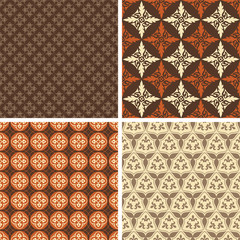 Set of four square seamless patterns