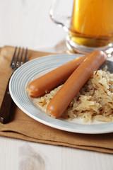 Sausages with Bavarian kraut