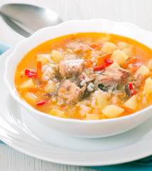 Fish soup with potato and rice