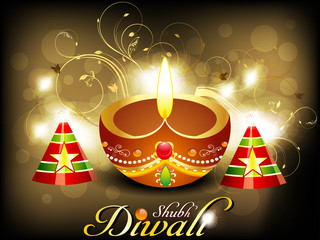abstract diwali card with cracker