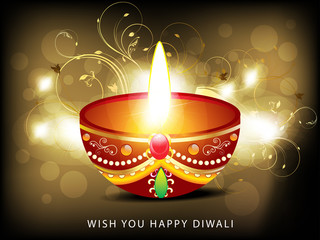 abstract diwali card with floral