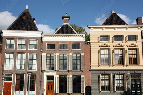 Canal houses in the city Groningen.Netherlands