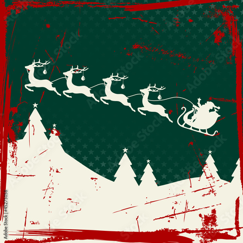 Santa Sleigh 4 Flying Reindeers Retro Green/Red/Beige