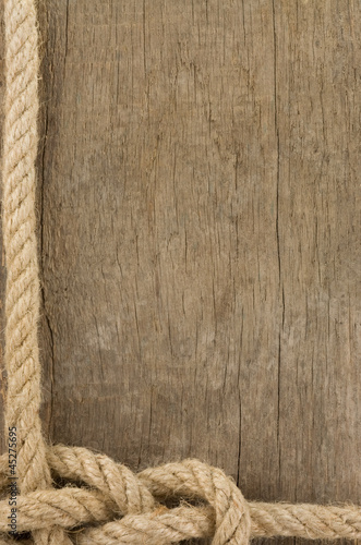 ship ropes borders on wood background