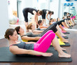 Aerobic Pilates personal trainer in a gym group class