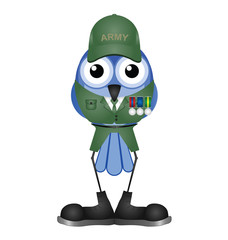 Bird soldier with medals