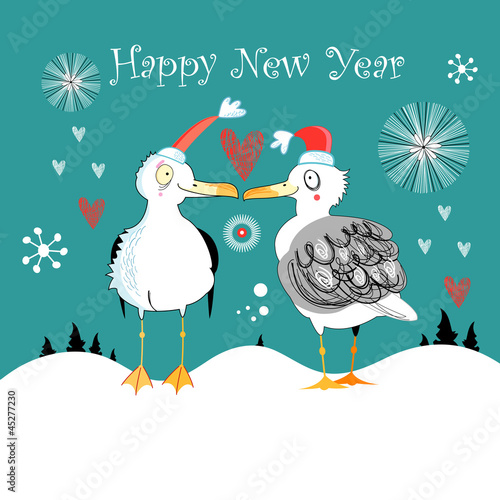 Winter card with funny gulls