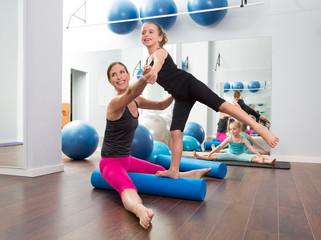Aerobics woman personal trainer of children girl