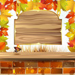 Frame with autumn colorful leaves and wood banner