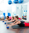 Aerobics pilates women with toning balls in a row