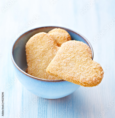 Heart shaped butter cookies with sugar