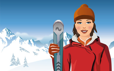Portrait of young woman holding ski pole in the mountains