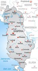 Landkarte von Albanien mit Nachbarländern