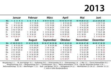 Kalender Visitenkartenformat 2013 incl. Werbefläche