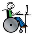 Rollstuhlfahrer am Computer