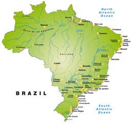 Übersichtskarte von Brasilien als Insel
