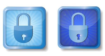 blue radial closed lock icon