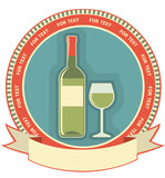 White wine bottle label.Vector symbol background