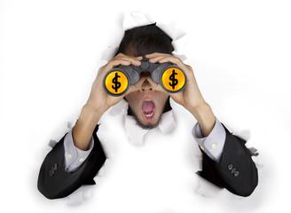 Shocked businessman with binoculars