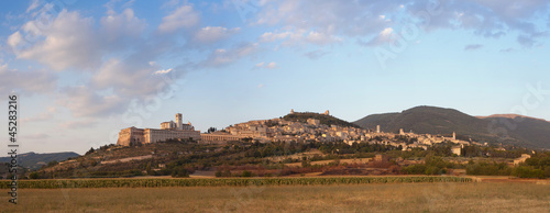 Panorama of Assisi with S. Francesco Basilica, Umbria, Italy
