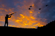 canvas print picture - Bird Hunting Silhouette